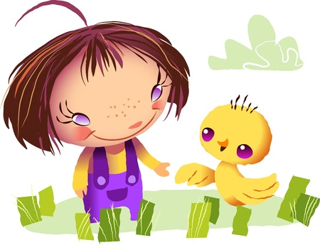 A vector illustration of a little girl and a baby chick