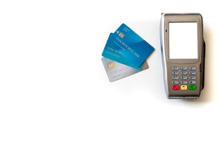 payment terminal and credit cards on white background. isolated. Blank screen. Copy Space.
