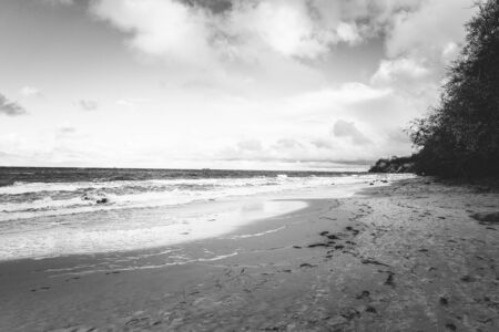 Lonely beach on a cloudy day in black and white