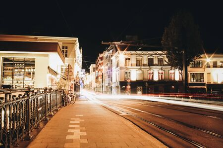 Long time exposure of a tram in Ghent