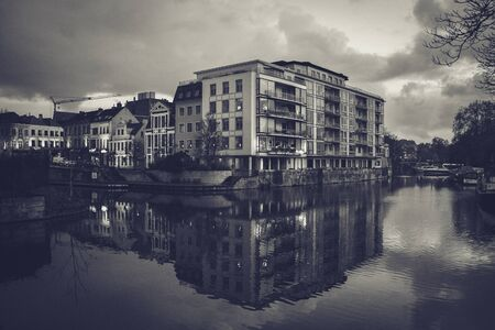 Mirrored house in water in black and white Фото со стока