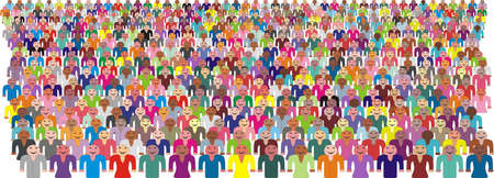 An illustration of a colorful crowd of people