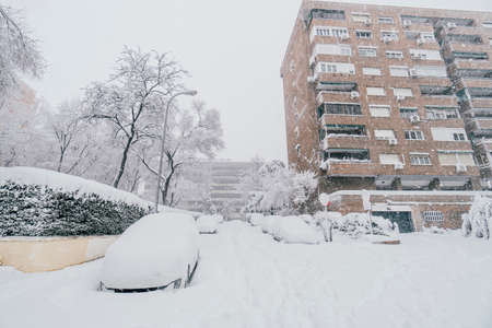 Madrid street covered in snow due to historic Filomena storm with more than 30 cm of snow. Cars, trees and building with snow.