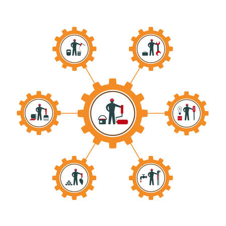 A set of vector illustrations of icons for repair, installation and maintenance of apartments and residential premises, finishing, painting, plumbing and other construction works Ilustracja