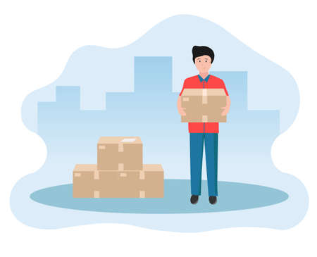 Vector illustration of a young man holding a delivered order