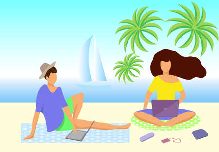 Vector illustration young people spend time on the beach working on a laptop
