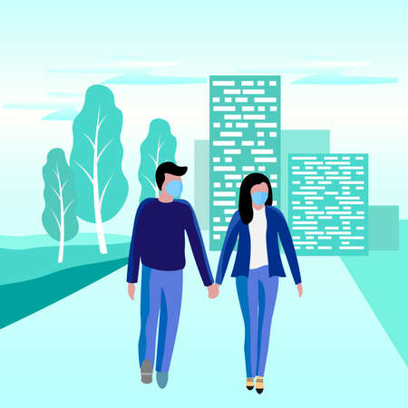 Vector illustration of a man and a woman walking hand in hand in protective masks against the virus