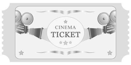 Vector illustration. Retro vintage movie ticket template in black and white. With the ability to add the desired text material Ilustração