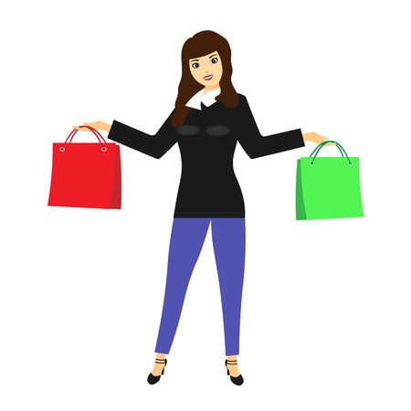 Vector illustration of a woman with bags