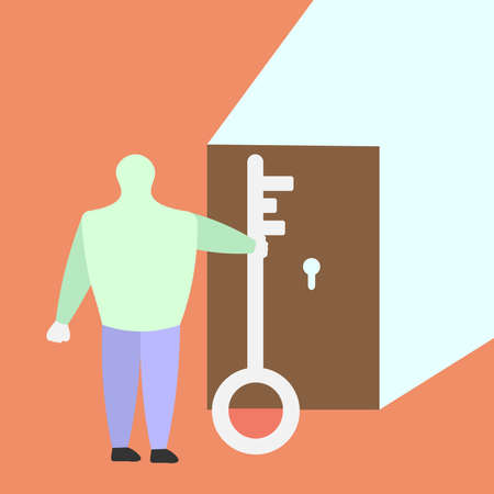 Vector illustration of a person who found a way out of a situation