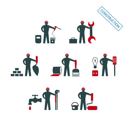 A set of vector illustrations of icons for repair, installation and maintenance of apartments and residential premises, finishing, painting, plumbing and other construction works 일러스트