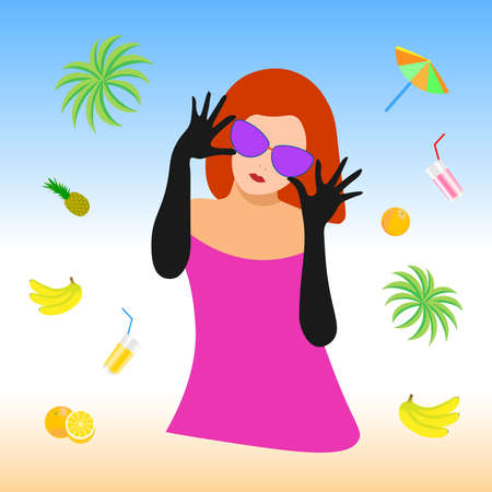 Girl with glasses on the beach 向量圖像