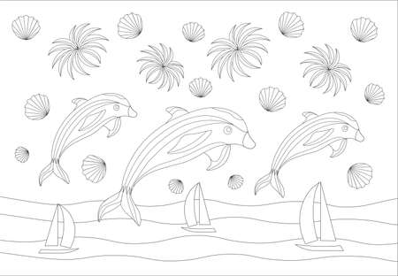 Vector illustration of the sea with dolphins jumping out of the water in black and white colors