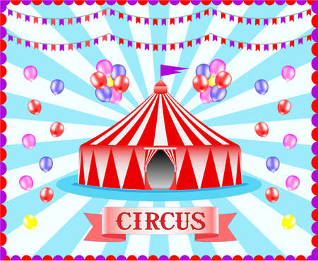 Vector illustration of a circus performance with balloons banner, template, Billboard, ticket, poster. Carnival