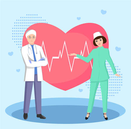 Vector illustration of a medical team and a heart Çizim