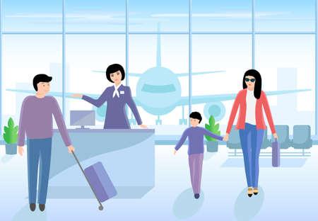 Vector illustration of airport boarding a flight. Векторная Иллюстрация