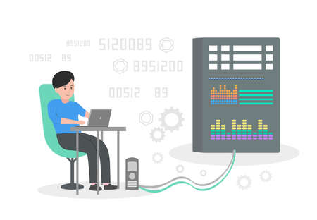 Vector illustration of a programmer working with a server.