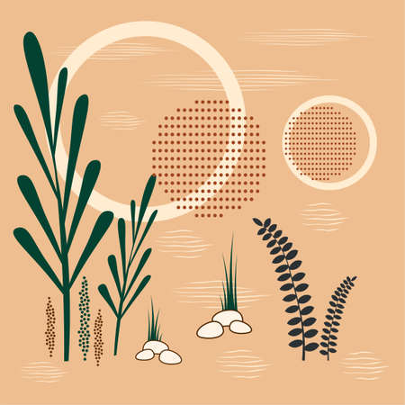 Vector illustration of an abstract geometric background. With circles and branches of plants. Illusztráció