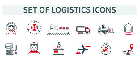 Vector illustration of a group, a set of icons, miniature infographics in one style, logistics, product delivery, payment, order. Car, plane, ship, train, clock, vehicle, business. Web icons.