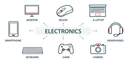 Vector illustration of the group, a set of icons, miniature infographics in the same style, electronics and technology. Computer. Web icons.
