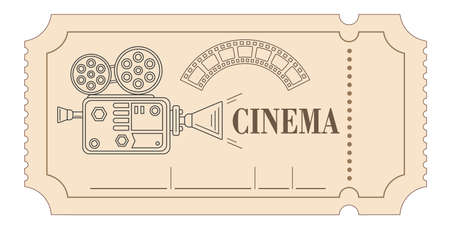 Vector illustration. Retro vintage movie ticket in red, white, black