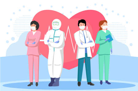 Vector illustration of a medical team and a heart