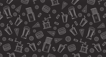 Vector illustration of a dark background with confectionery, coffee grinder and glasses. Pattern for cafes and eateries.