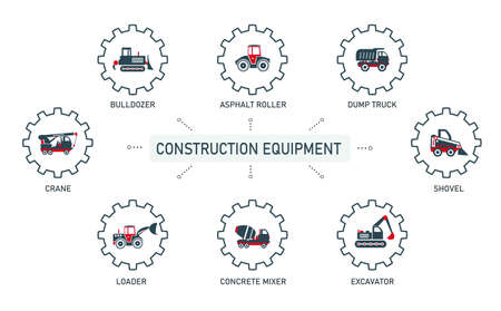 Set of vector illustrations of icons, logos of special equipment bulldozer, asphalt roller, dump truck, excavator, concrete mixer, loader, crane for construction work, enterprises and organizations.