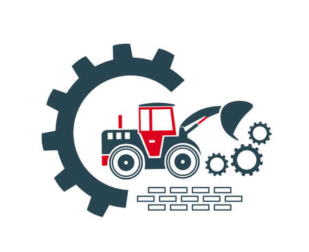 Vector illustration of the icon of a special equipment loader for construction work of enterprises and organizations.