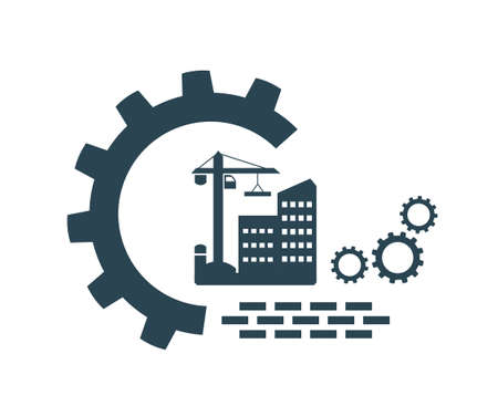 Vector illustration of a logo, icon, lifting device, hook for construction work.