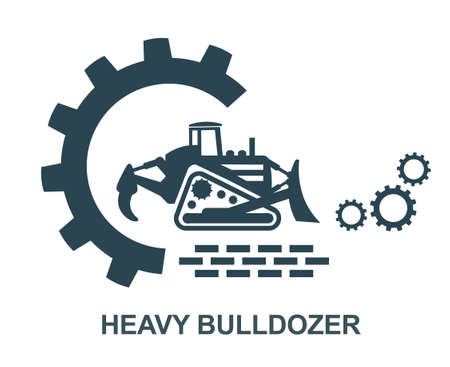 Vector illustration of the icon of a heavy bulldozer. Equipment for construction work.