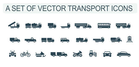 A set of vector illustrations, icons of cars, trucks and buses, motorcycles, bicycles and ATVs, trains, snowmobiles and tractors.