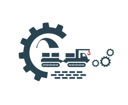 Vector illustration of the tractor icon. Special and construction equipment. Isolated.