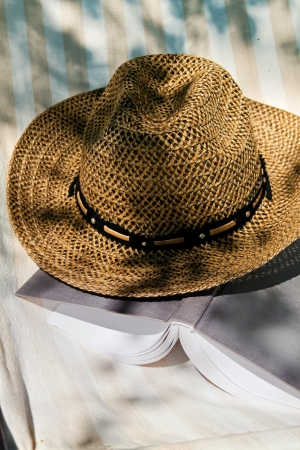 deckchair: Open book and straw hat on deckchair