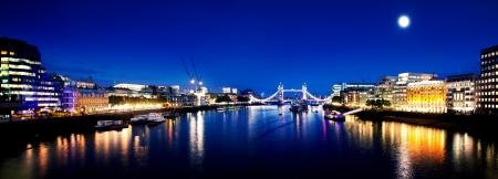 london night: London Bridge and River Thames panorama by night