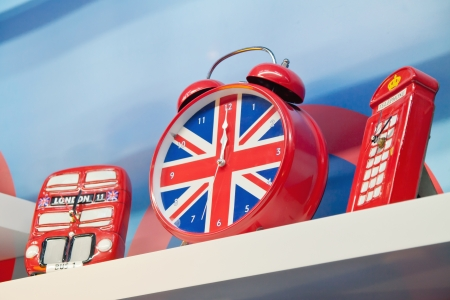 London Great Britain Red Souvenirs with bus clock and telephone