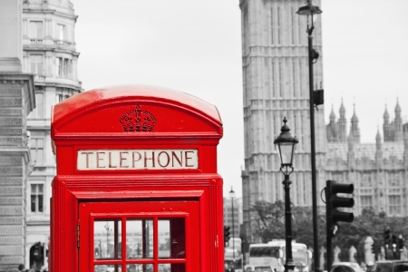 Red Telephone Booth and Big Ben in London street photo