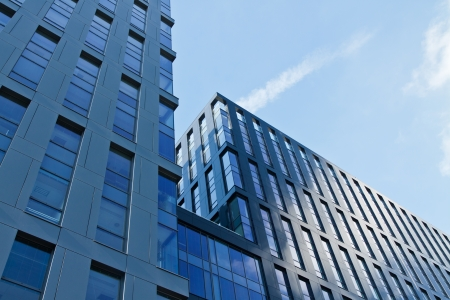 property: Modern architecture bank financial office tower building Stock Photo