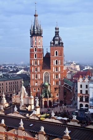 St  Mary s church and Sukiennice in Krakow