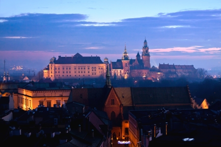 Wawel hill with castle in Krakow at night Editorial