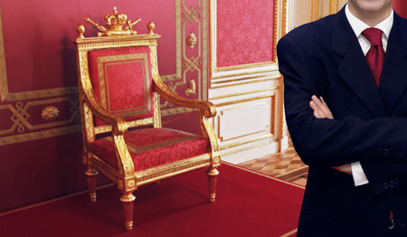 personel: Staff man standing inside luxury royal palace interior Editorial
