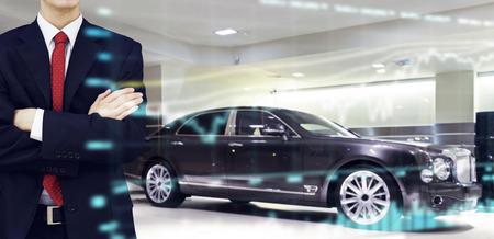 personel: Car dealer presenting vehicle performance in showroom store