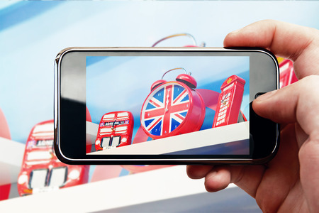 Smart phone mobile photo with London souvenirs photo