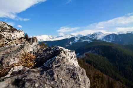 zakopane: Mountain snowy landscape with rocks in Zakopane