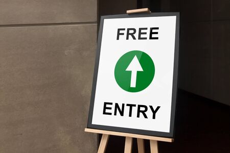 free border: Frame and easel stand tripod with free entry poster Stock Photo