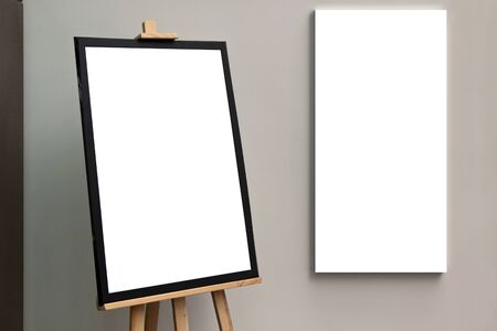 isolated paper: Blank isolated paper poster frame with easel and canvas