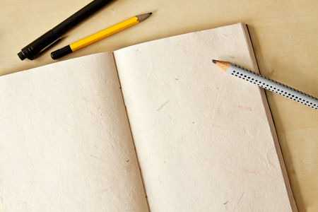 sketchbook: Sketchbook note pad with empty paper page and pencil
