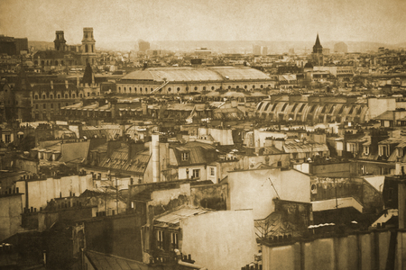Vintage retro old styled paris sepia photography with seine river