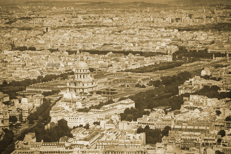 Vintage retro old styled paris sepia photography with invalides palace