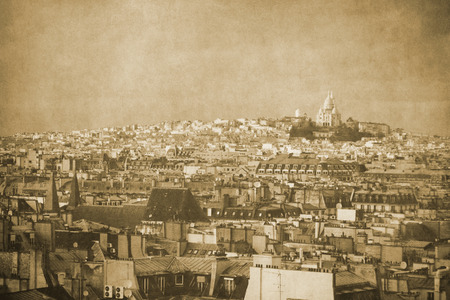 Vintage retro old styled paris sepia photography with sacre coeur basilica